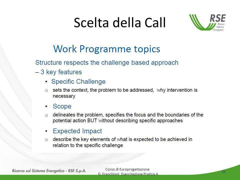 Scelta della Call Corso di Europrogettazione G. Franchioni Esercitazione Pratica A 11