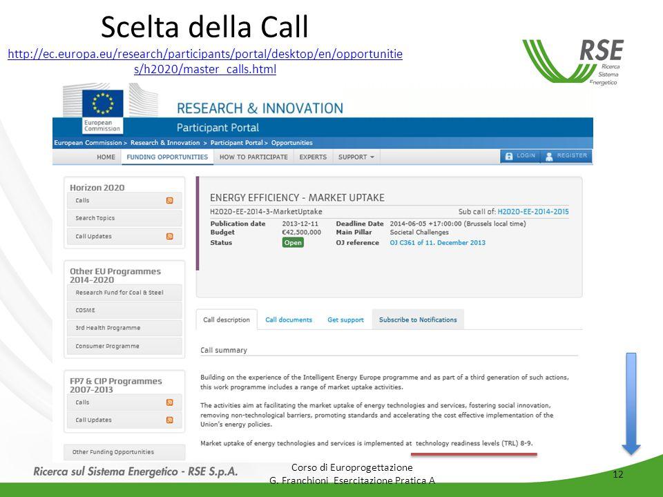 Scelta della Call http://ec.europa.eu/research/participants/portal/desktop/en/opportunitie s/h2020/master_calls.html http://ec.europa.eu/research/participants/portal/desktop/en/opportunitie s/h2020/master_calls.html Corso di Europrogettazione G.