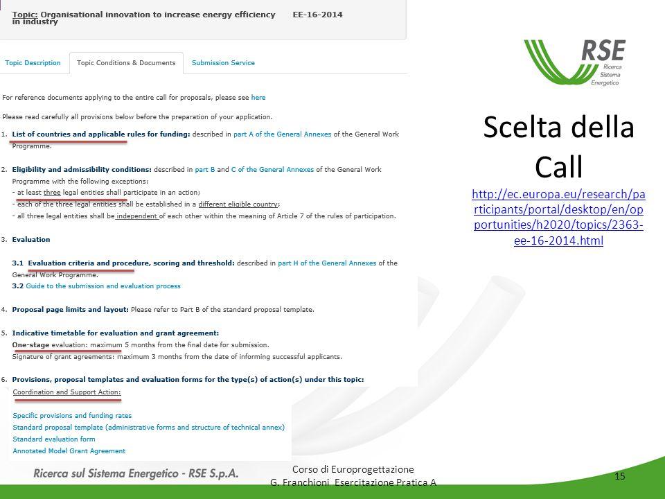 Scelta della Call http://ec.europa.eu/research/pa rticipants/portal/desktop/en/op portunities/h2020/topics/2363- ee-16-2014.html http://ec.europa.eu/research/pa rticipants/portal/desktop/en/op portunities/h2020/topics/2363- ee-16-2014.html Corso di Europrogettazione G.
