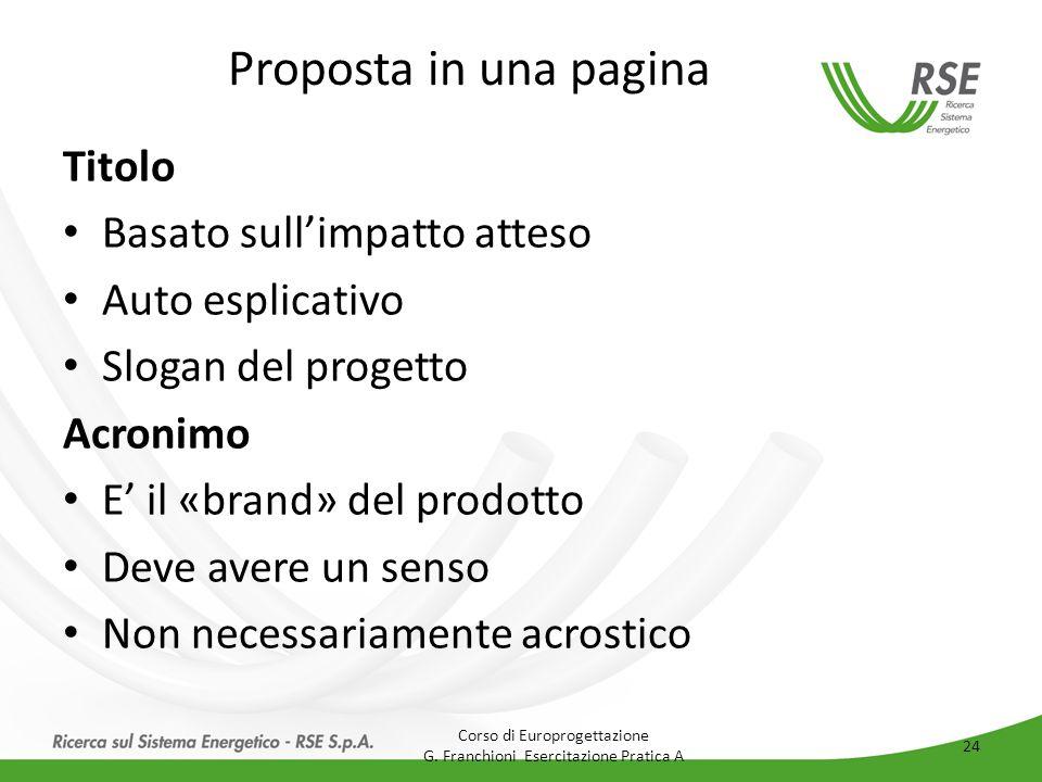Proposta in una pagina Titolo Basato sull'impatto atteso Auto esplicativo Slogan del progetto Acronimo E' il «brand» del prodotto Deve avere un senso