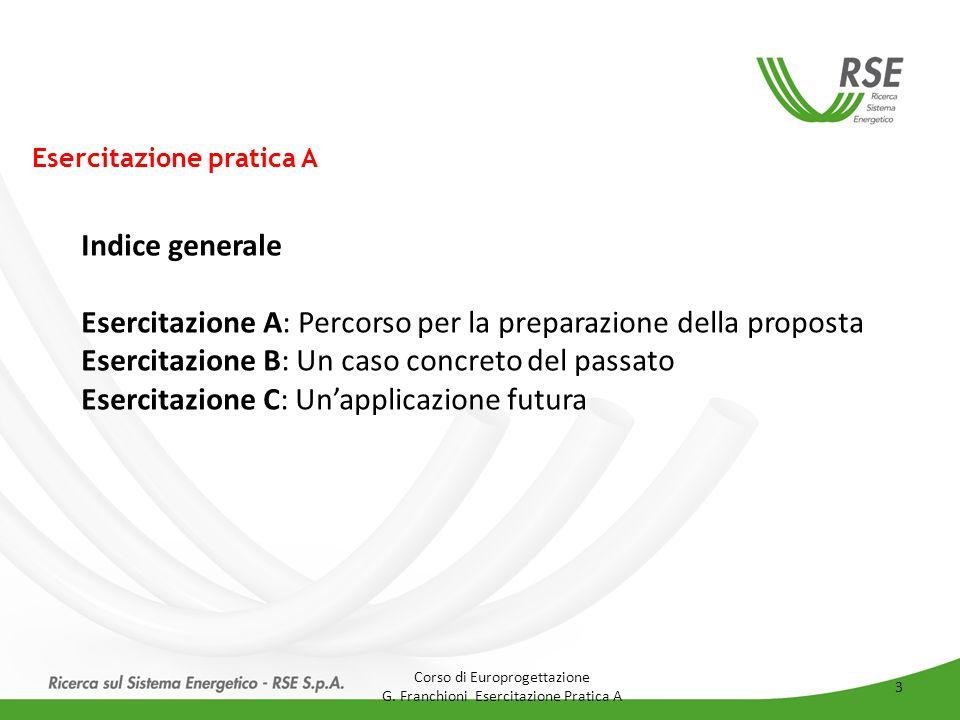 Esercitazione pratica A Indice generale Esercitazione A: Percorso per la preparazione della proposta Esercitazione B: Un caso concreto del passato Ese