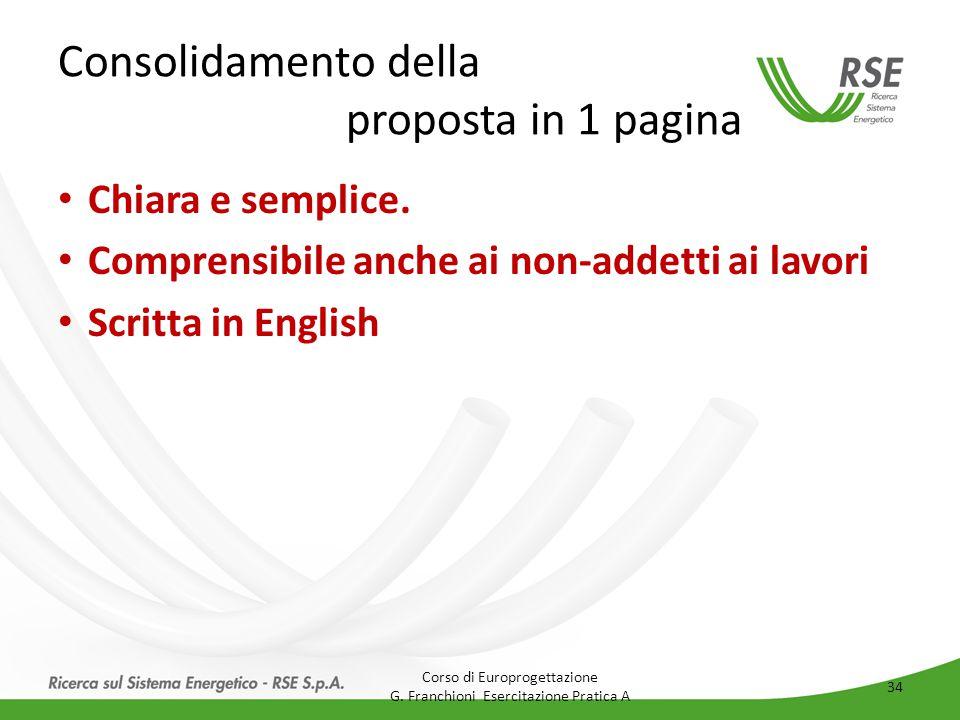 Consolidamento della proposta in 1 pagina Chiara e semplice. Comprensibile anche ai non-addetti ai lavori Scritta in English Corso di Europrogettazion