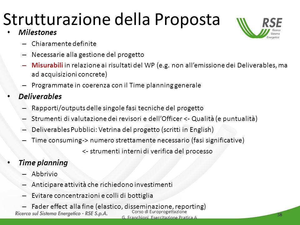 Strutturazione della Proposta Milestones – Chiaramente definite – Necessarie alla gestione del progetto – Misurabili in relazione ai risultati del WP