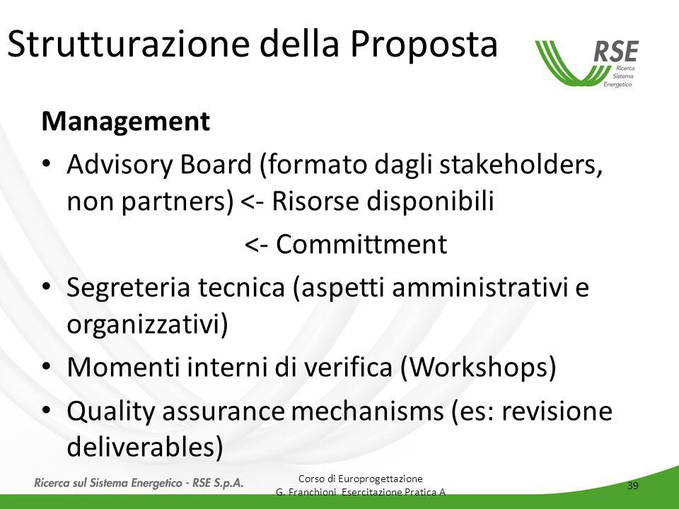 Strutturazione della Proposta Management Advisory Board (formato dagli stakeholders, non partners) <- Risorse disponibili <- Committment Segreteria te