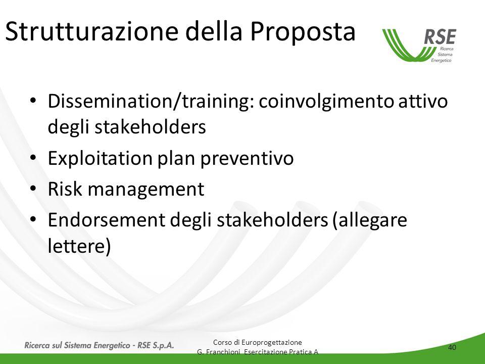 Strutturazione della Proposta Dissemination/training: coinvolgimento attivo degli stakeholders Exploitation plan preventivo Risk management Endorsemen