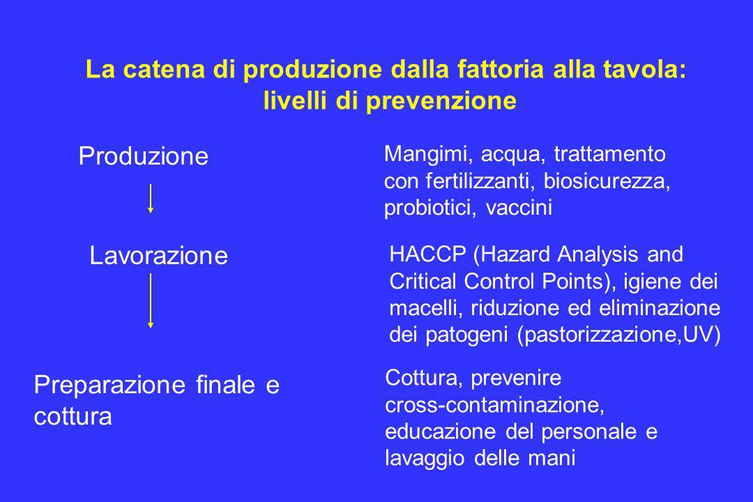 La catena di produzione dalla fattoria alla tavola: livelli di prevenzione Produzione Lavorazione Mangimi, acqua, trattamento con fertilizzanti, biosi