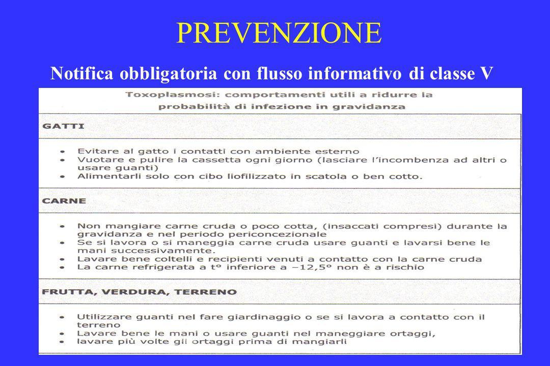 PREVENZIONE Notifica obbligatoria con flusso informativo di classe V