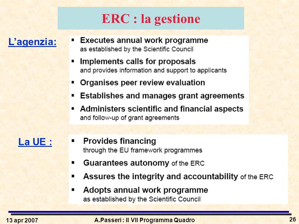13 apr 2007 A.Passeri : Il VII Programma Quadro 26 ERC : la gestione L'agenzia: La UE :