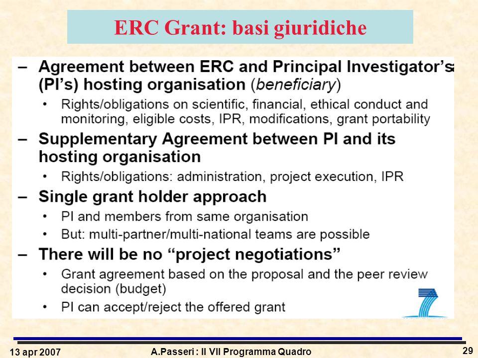 13 apr 2007 A.Passeri : Il VII Programma Quadro 29 ERC Grant: basi giuridiche