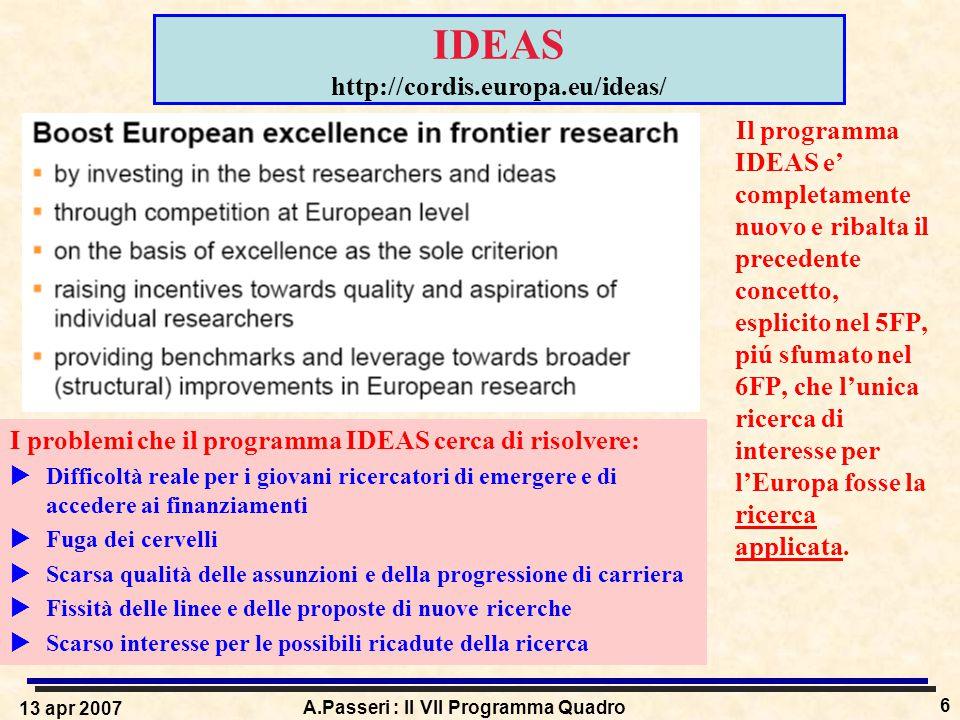 13 apr 2007 A.Passeri : Il VII Programma Quadro 6 IDEAS http://cordis.europa.eu/ideas/ Il programma IDEAS e' completamente nuovo e ribalta il precedente concetto, esplicito nel 5FP, piú sfumato nel 6FP, che l'unica ricerca di interesse per l'Europa fosse la ricerca applicata.