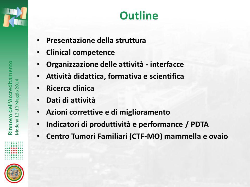 Rinnovo dell'Accreditamento Modena 12-13 Maggio 2014 Outline Presentazione della struttura Clinical competence Organizzazione delle attività - interfa
