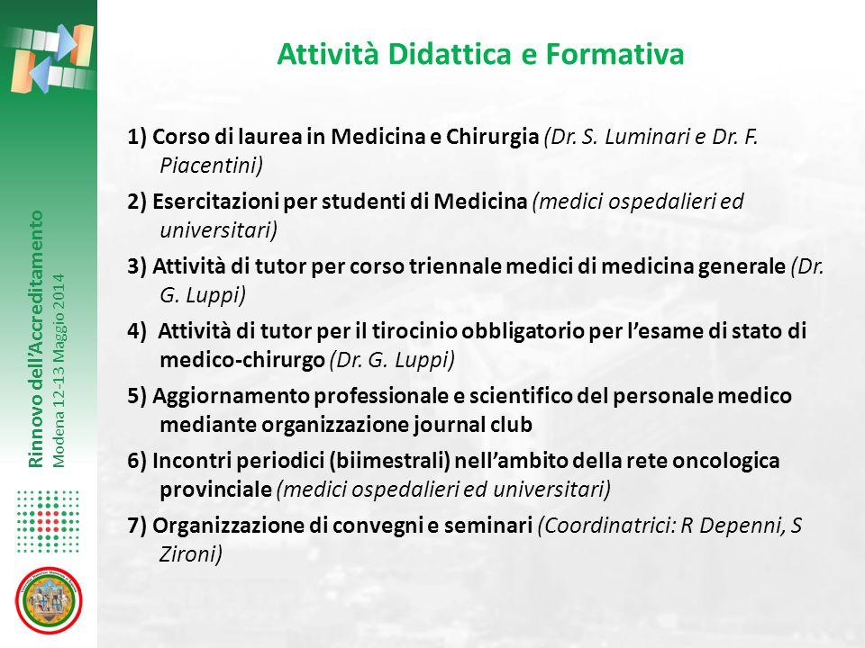Rinnovo dell'Accreditamento Modena 12-13 Maggio 2014 Attività Didattica e Formativa 1) Corso di laurea in Medicina e Chirurgia (Dr. S. Luminari e Dr.