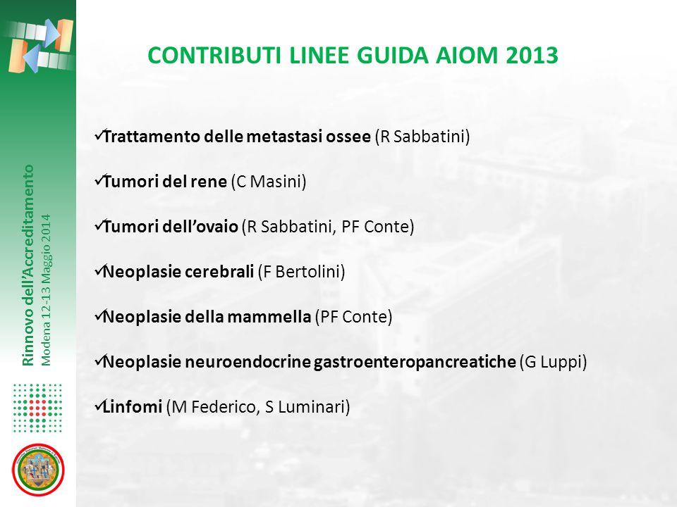 Rinnovo dell'Accreditamento Modena 12-13 Maggio 2014 CONTRIBUTI LINEE GUIDA AIOM 2013 Trattamento delle metastasi ossee (R Sabbatini) Tumori del rene