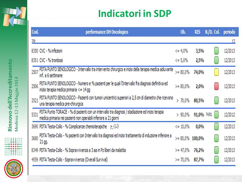 Rinnovo dell'Accreditamento Modena 12-13 Maggio 2014 Indicatori in SDP > G3