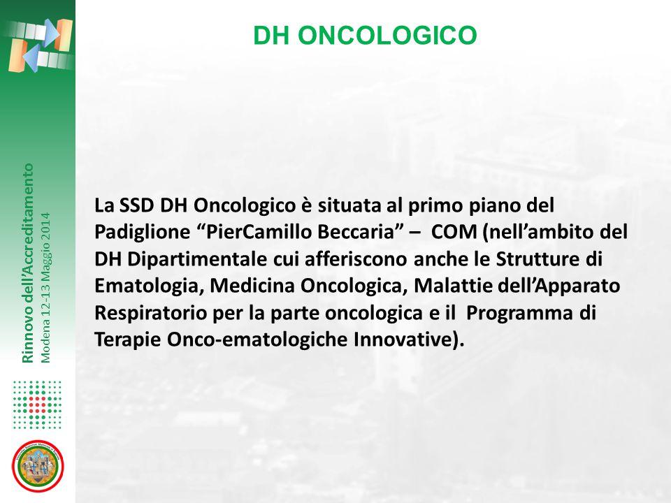 """Rinnovo dell'Accreditamento Modena 12-13 Maggio 2014 La SSD DH Oncologico è situata al primo piano del Padiglione """"PierCamillo Beccaria"""" – COM (nell'a"""
