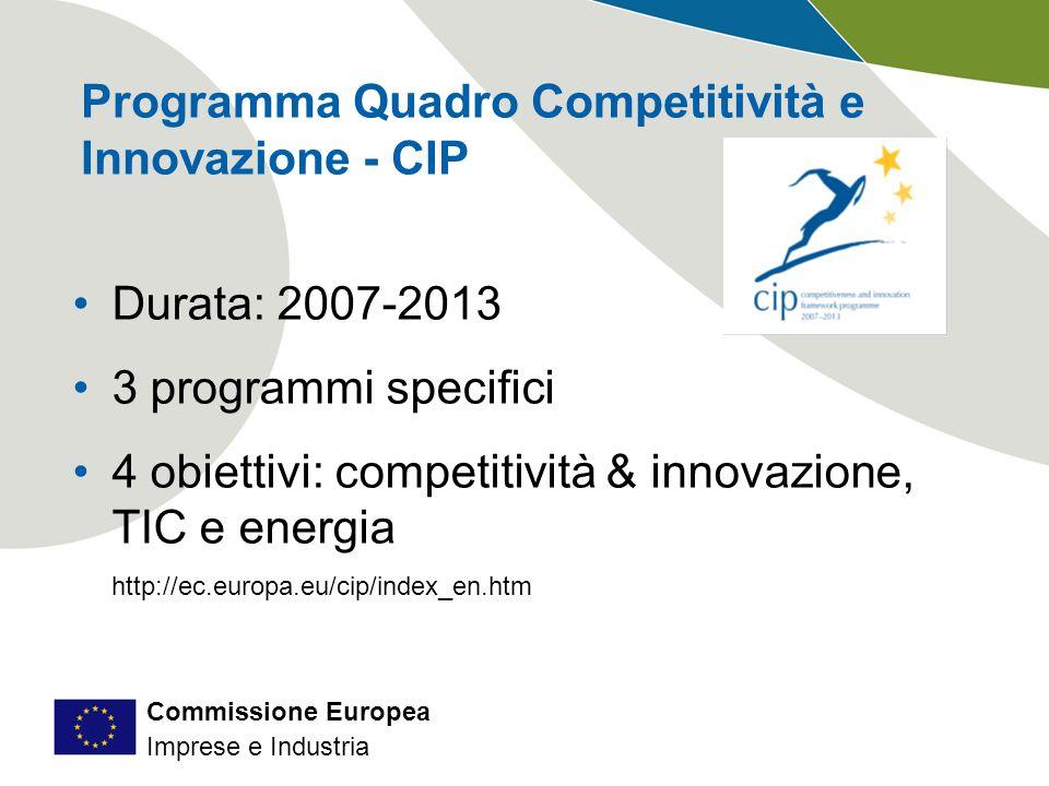 Commissione Europea Imprese e Industria Programma Quadro Competitività e Innovazione - CIP Durata: 2007-2013 3 programmi specifici 4 obiettivi: competitività & innovazione, TIC e energia http://ec.europa.eu/cip/index_en.htm
