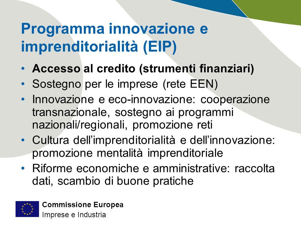 Commissione Europea Imprese e Industria Programma innovazione e imprenditorialità (EIP) Accesso al credito (strumenti finanziari) Sostegno per le imprese (rete EEN) Innovazione e eco-innovazione: cooperazione transnazionale, sostegno ai programmi nazionali/regionali, promozione reti Cultura dell'imprenditorialità e dell'innovazione: promozione mentalità imprenditoriale Riforme economiche e amministrative: raccolta dati, scambio di buone pratiche