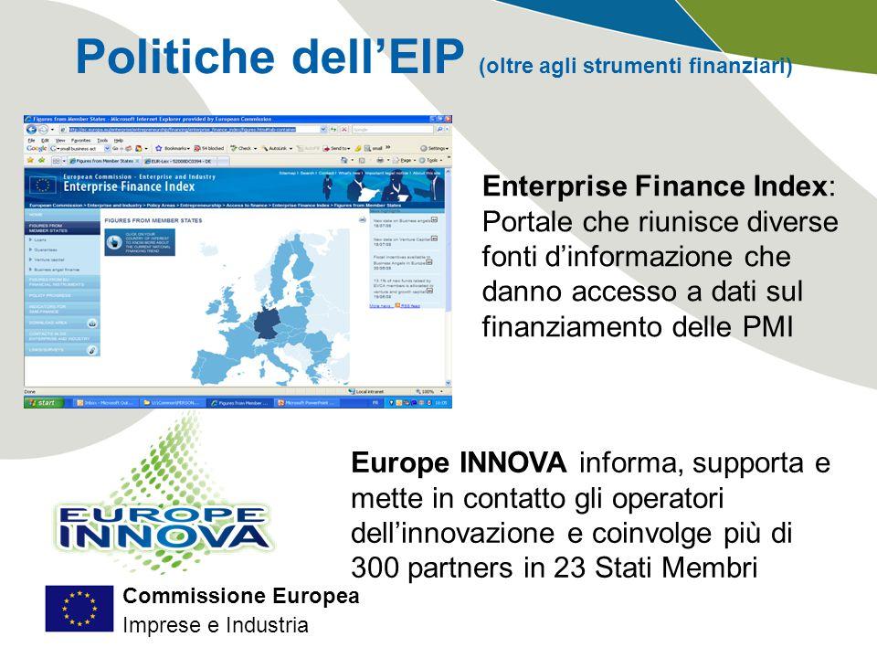 Commissione Europea Imprese e Industria Europe INNOVA informa, supporta e mette in contatto gli operatori dell'innovazione e coinvolge più di 300 partners in 23 Stati Membri Politiche dell'EIP (oltre agli strumenti finanziari) Enterprise Finance Index: Portale che riunisce diverse fonti d'informazione che danno accesso a dati sul finanziamento delle PMI