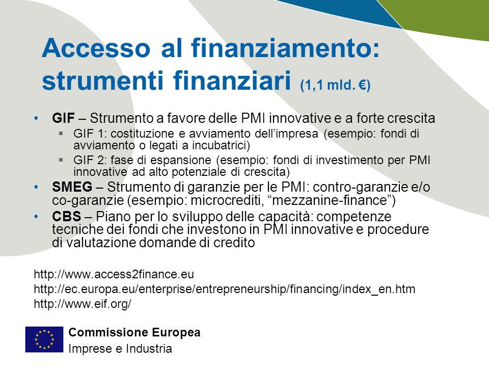 Commissione Europea Imprese e Industria Accesso al finanziamento: strumenti finanziari (1,1 mld.