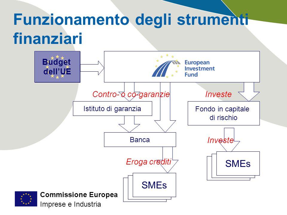 Commissione Europea Imprese e Industria Funzionamento degli strumenti finanziari Banca Fondo in capitale di rischio Budget dell'UE SMEs Investe Eroga crediti Istituto di garanzia Contro- o co-garanzie
