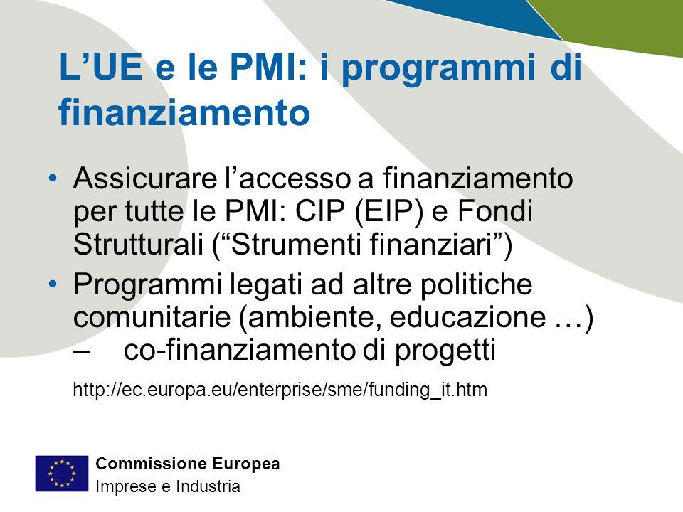 Commissione Europea Imprese e Industria L'UE e le PMI: i programmi di finanziamento Assicurare l'accesso a finanziamento per tutte le PMI: CIP (EIP) e Fondi Strutturali ( Strumenti finanziari ) Programmi legati ad altre politiche comunitarie (ambiente, educazione …) – co-finanziamento di progetti http://ec.europa.eu/enterprise/sme/funding_it.htm