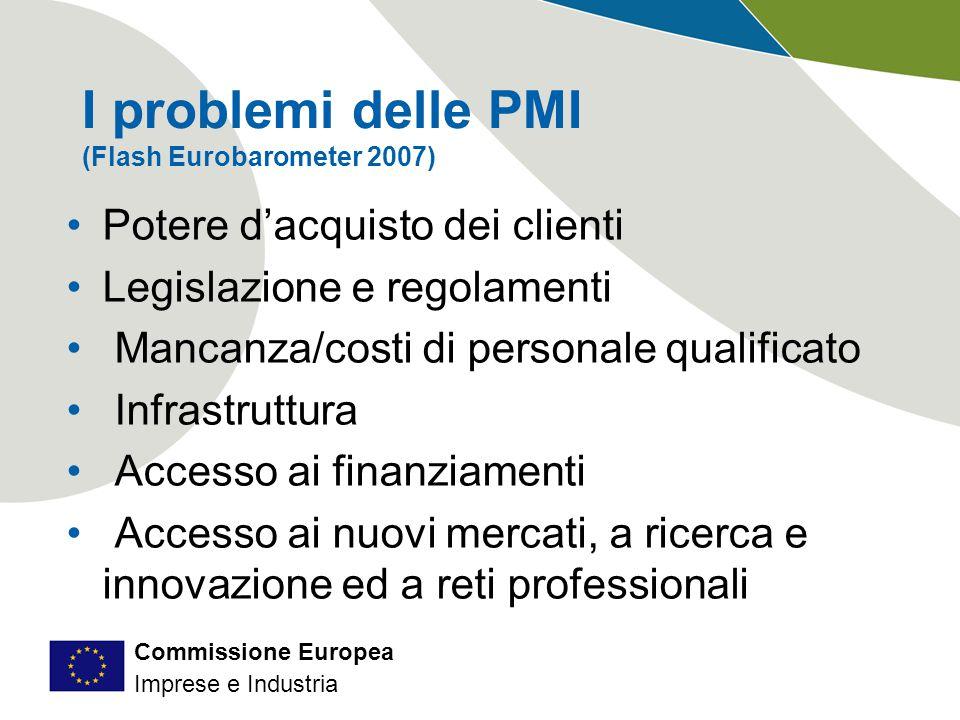 Commissione Europea Imprese e Industria I problemi delle PMI (Flash Eurobarometer 2007) Potere d'acquisto dei clienti Legislazione e regolamenti Mancanza/costi di personale qualificato Infrastruttura Accesso ai finanziamenti Accesso ai nuovi mercati, a ricerca e innovazione ed a reti professionali