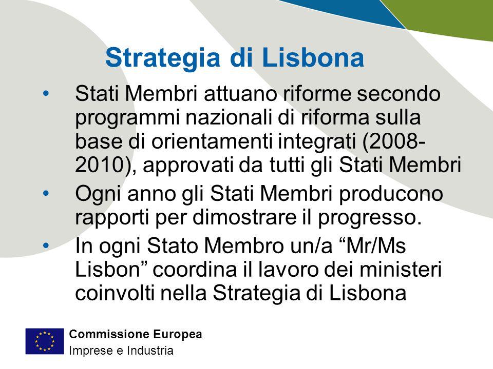 Commissione Europea Imprese e Industria Strategia di Lisbona Stati Membri attuano riforme secondo programmi nazionali di riforma sulla base di orientamenti integrati (2008- 2010), approvati da tutti gli Stati Membri Ogni anno gli Stati Membri producono rapporti per dimostrare il progresso.