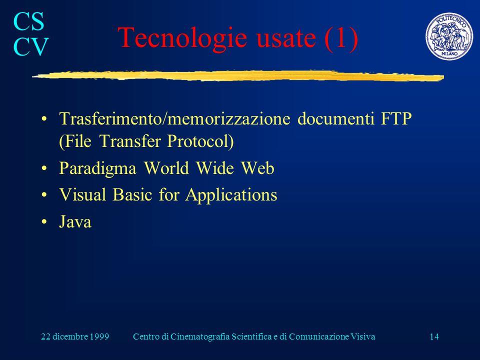 CS CV 22 dicembre 1999Centro di Cinematografia Scientifica e di Comunicazione Visiva14 Tecnologie usate (1) Trasferimento/memorizzazione documenti FTP (File Transfer Protocol) Paradigma World Wide Web Visual Basic for Applications Java