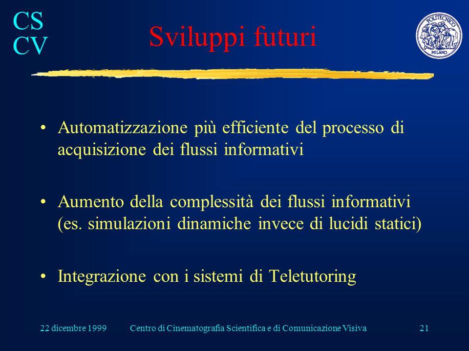 CS CV 22 dicembre 1999Centro di Cinematografia Scientifica e di Comunicazione Visiva21 Sviluppi futuri Automatizzazione più efficiente del processo di acquisizione dei flussi informativi Aumento della complessità dei flussi informativi (es.