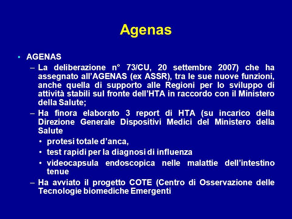 Agenas AGENAS –La deliberazione n° 73/CU, 20 settembre 2007) che ha assegnato all'AGENAS (ex ASSR), tra le sue nuove funzioni, anche quella di support