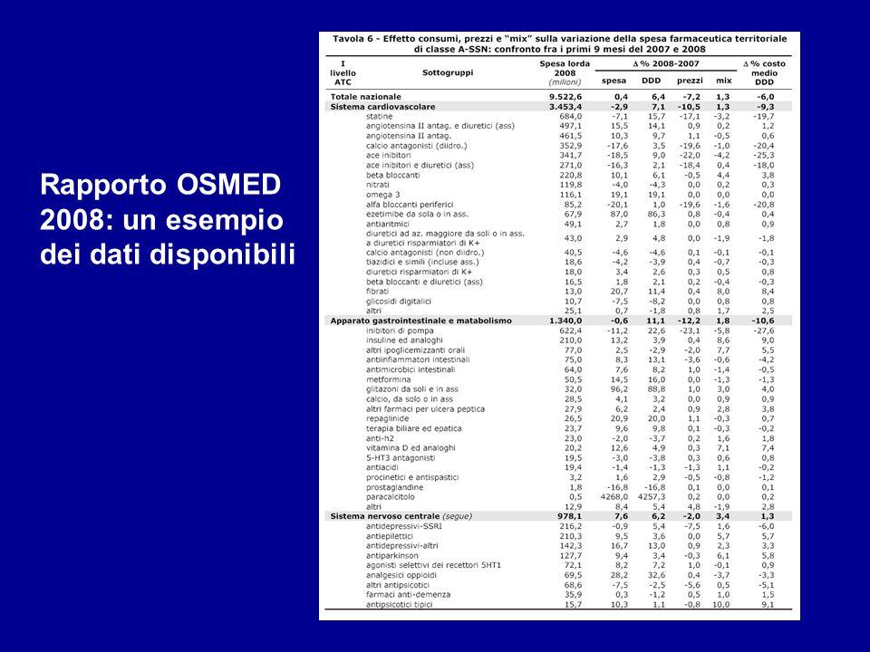 Rapporto OSMED 2008: un esempio dei dati disponibili
