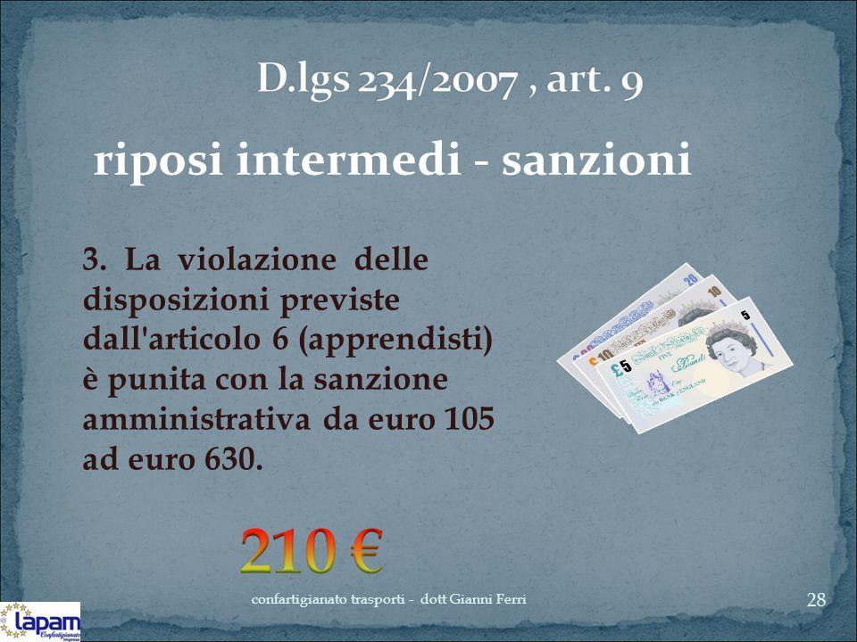riposi intermedi - sanzioni 3. La violazione delle disposizioni previste dall'articolo 6 (apprendisti) è punita con la sanzione amministrativa da euro