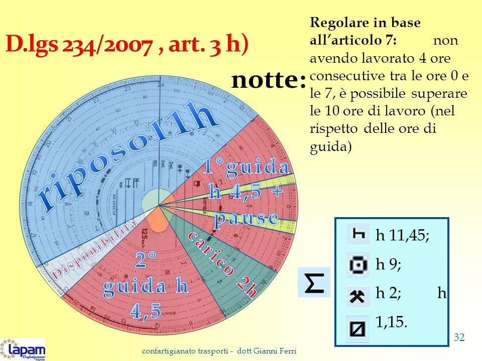 notte: Regolare in base all'articolo 7: non avendo lavorato 4 ore consecutive tra le ore 0 e le 7, è possibile superare le 10 ore di lavoro (nel rispetto delle ore di guida) h 11,45; h 9; h 2; h 1,15.