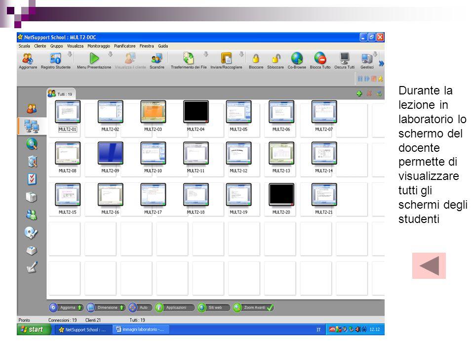 Durante la lezione in laboratorio lo schermo del docente permette di visualizzare tutti gli schermi degli studenti
