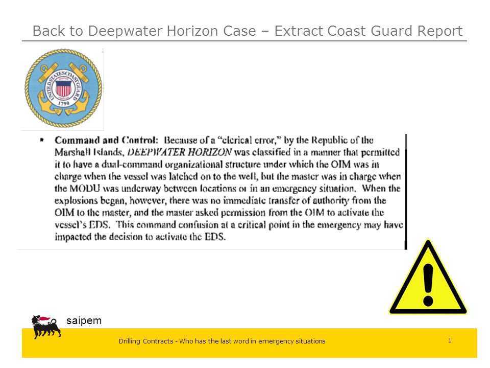 Drilling Contracts - Who has the last word in emergency situations saipem 1 Back to Deepwater Horizon Case – Extract Coast Guard Report