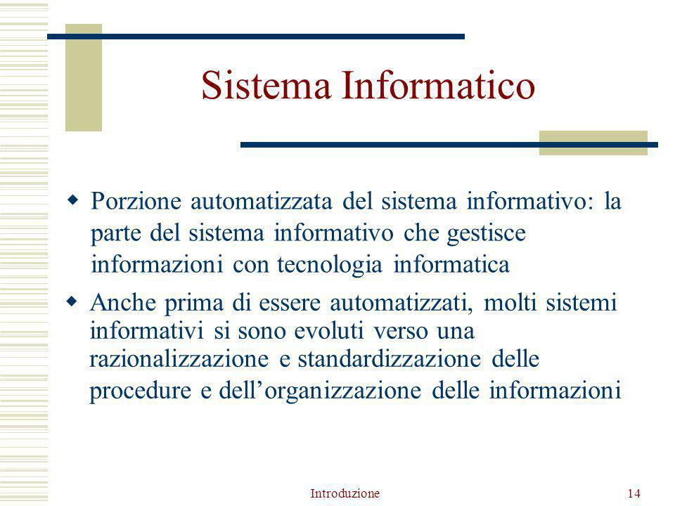 Introduzione14 Sistema Informatico  Porzione automatizzata del sistema informativo: la parte del sistema informativo che gestisce informazioni con tecnologia informatica  Anche prima di essere automatizzati, molti sistemi informativi si sono evoluti verso una razionalizzazione e standardizzazione delle procedure e dell'organizzazione delle informazioni
