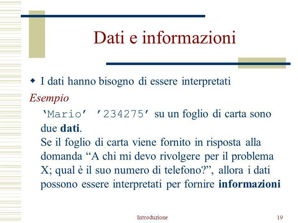 Introduzione19 Dati e informazioni  I dati hanno bisogno di essere interpretati Esempio 'Mario' '234275' su un foglio di carta sono due dati.