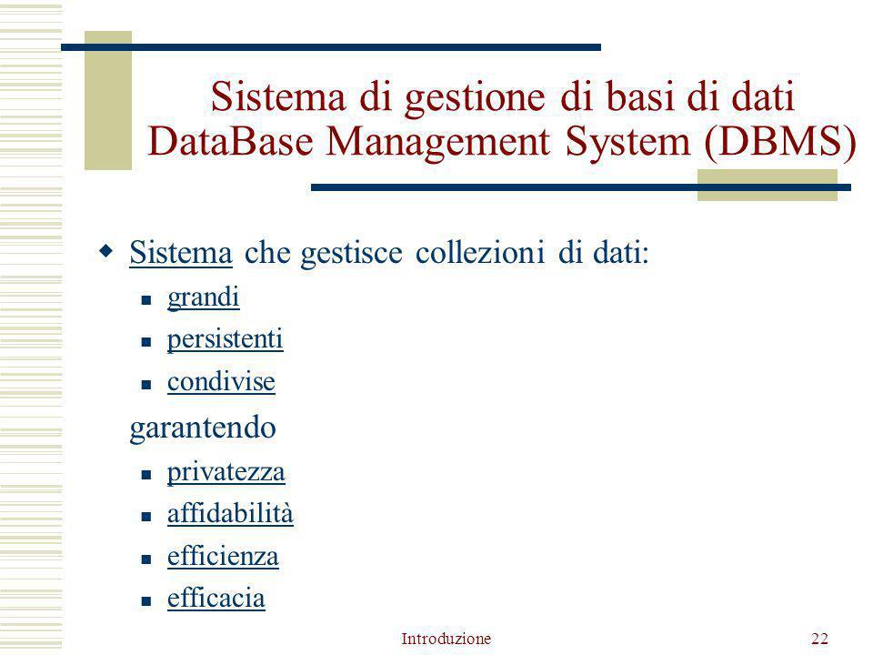 Introduzione22 Sistema di gestione di basi di dati DataBase Management System (DBMS)  Sistema che gestisce collezioni di dati: Sistema grandi persistenti condivise garantendo privatezza affidabilità efficienza efficacia