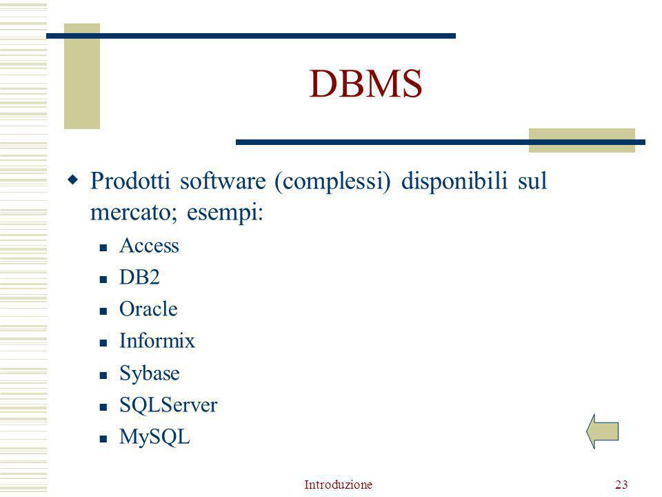 Introduzione23 DBMS  Prodotti software (complessi) disponibili sul mercato; esempi: Access DB2 Oracle Informix Sybase SQLServer MySQL