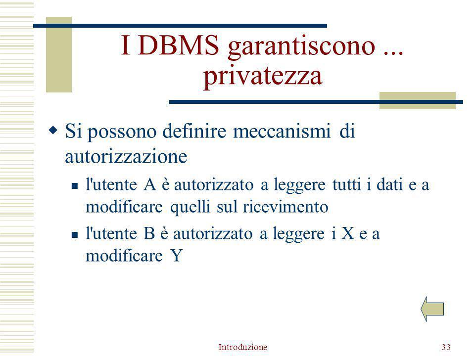 Introduzione33 I DBMS garantiscono...