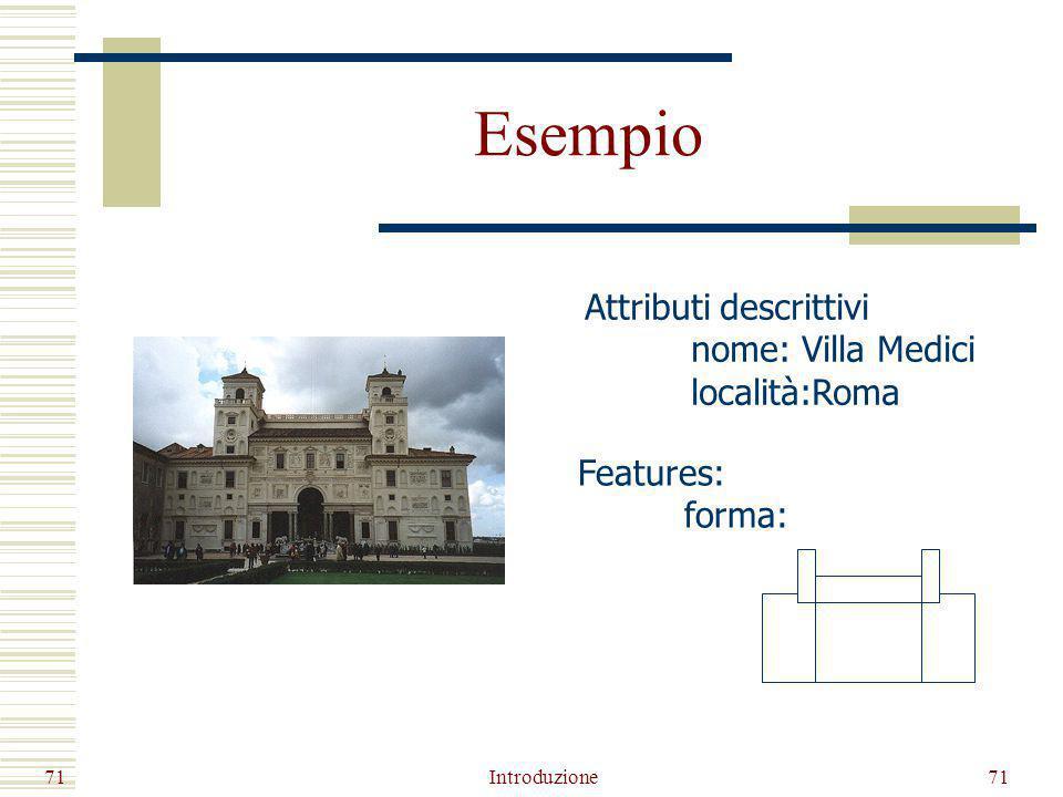 Esempio Introduzione71 Attributi descrittivi nome: Villa Medici località:Roma Features: forma: