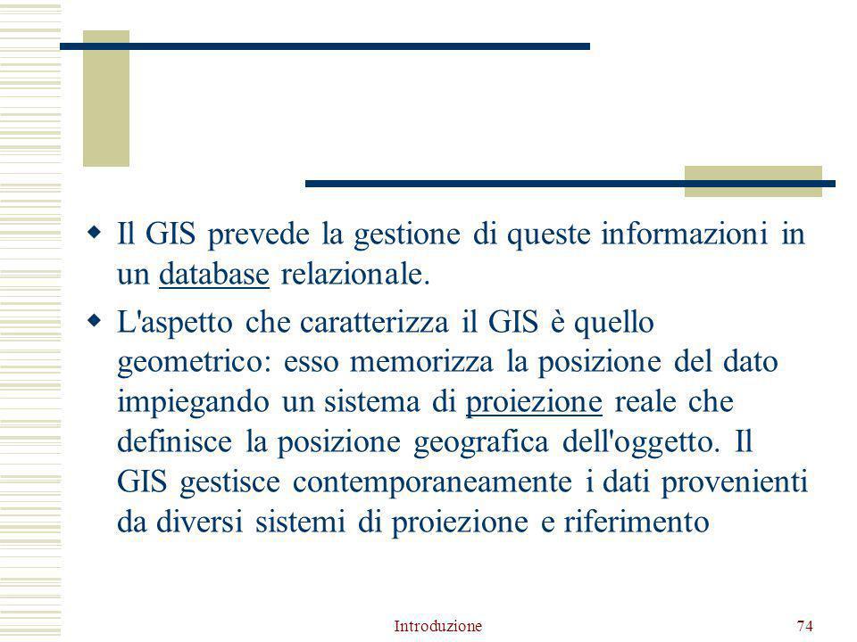  Il GIS prevede la gestione di queste informazioni in un database relazionale.database  L aspetto che caratterizza il GIS è quello geometrico: esso memorizza la posizione del dato impiegando un sistema di proiezione reale che definisce la posizione geografica dell oggetto.