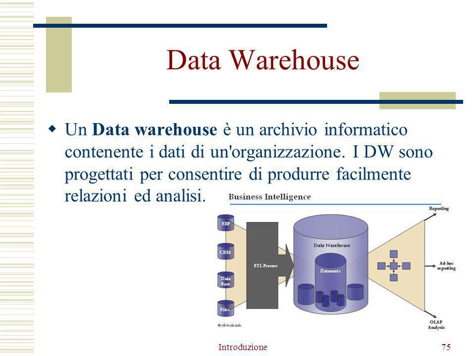 Data Warehouse  Un Data warehouse è un archivio informatico contenente i dati di un organizzazione.