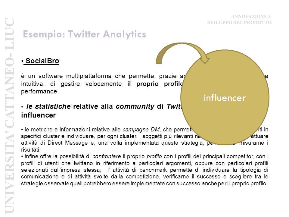 Esempio: Twitter Analytics SocialBro : è un software multipiattaforma che permette, grazie ad una grafica estremamente intuitiva, di gestire velocemente il proprio profilo Twitter e analizzarne le performance.