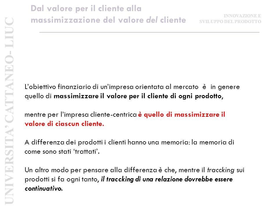 Dal valore per il cliente alla massimizzazione del valore del cliente L'obiettivo finanziario di un'impresa orientata al mercato è in genere quello di massimizzare il valore per il cliente di ogni prodotto, mentre per l'impresa cliente-centrica è quello di massimizzare il valore di ciascun cliente.