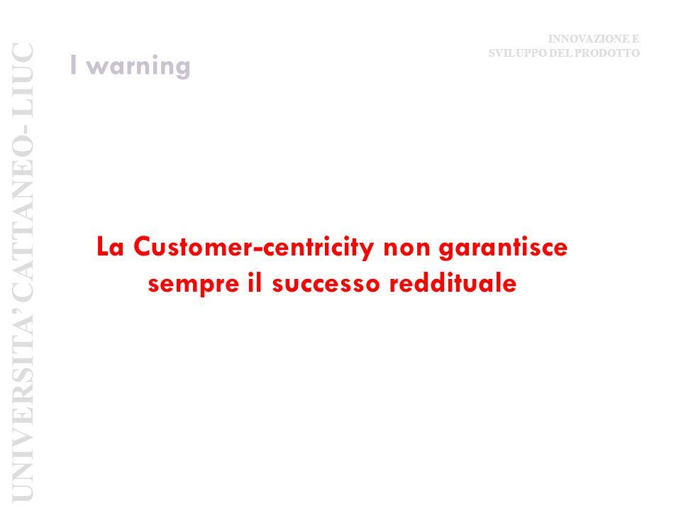 I warning La Customer-centricity non garantisce sempre il successo reddituale UNIVERSITA' CATTANEO- LIUC INNOVAZIONE E SVILUPPO DEL PRODOTTO