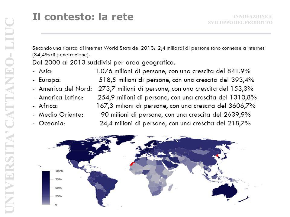 Il contesto: la rete Secondo una ricerca di Internet World Stats del 2013: 2,4 miliardi di persone sono connesse a internet (34,4% di penetrazione).