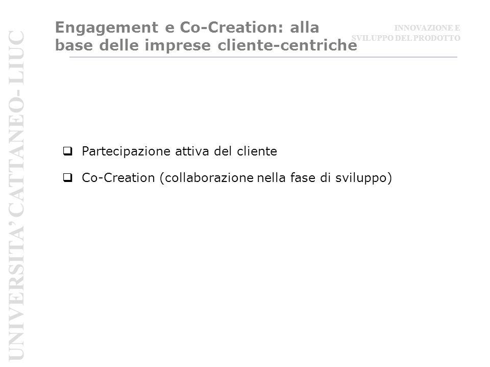 Engagement e Co-Creation: alla base delle imprese cliente-centriche  Partecipazione attiva del cliente  Co-Creation (collaborazione nella fase di sviluppo) UNIVERSITA' CATTANEO- LIUC INNOVAZIONE E SVILUPPO DEL PRODOTTO