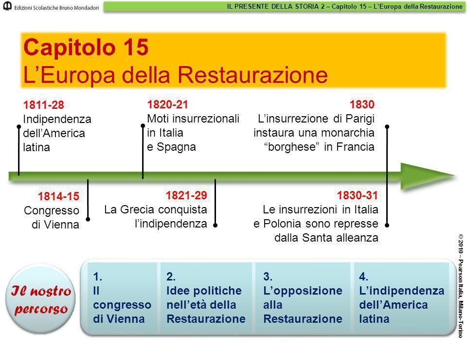 IL PRESENTE DELLA STORIA 2 – Capitolo 15 – L'Europa della Restaurazione © 2010 – Pearson Italia, Milano-Torino 1. Il congresso di Vienna 2. Idee polit