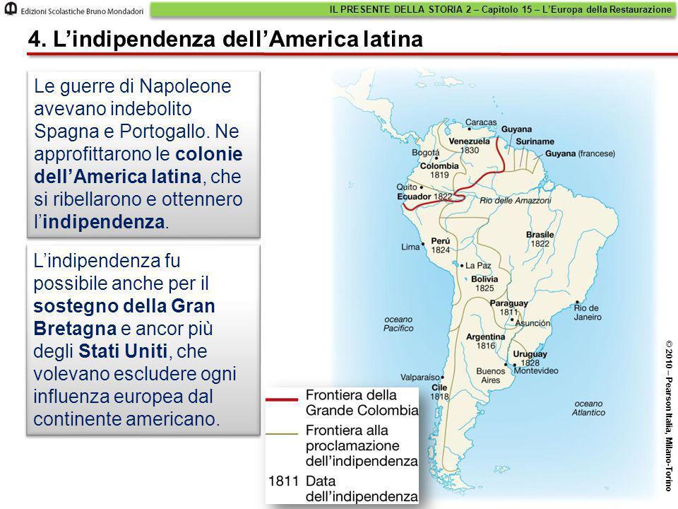 Le guerre di Napoleone avevano indebolito Spagna e Portogallo. Ne approfittarono le colonie dell'America latina, che si ribellarono e ottennero l'indi
